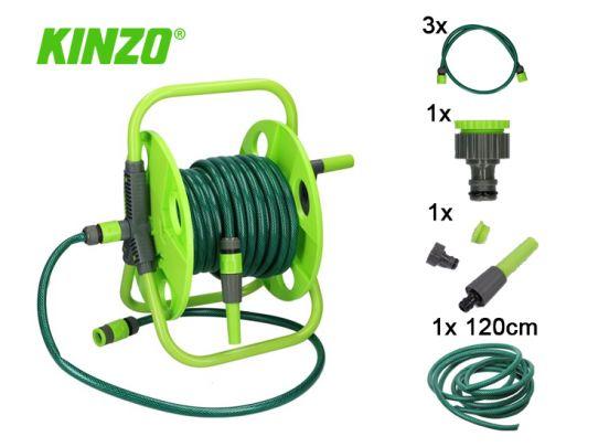 Kinzo tuinslang haspel met Koppeling 15 meter 1/2
