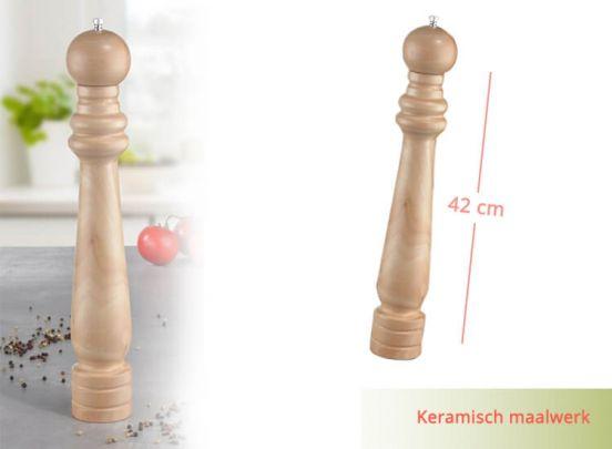 Grote houten pepermolen - 42 cm hoog
