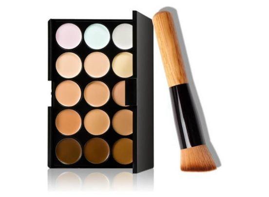 Concealer & Foundation Palette 15 Kleuren - Inclusief Hoogwaardige Brush