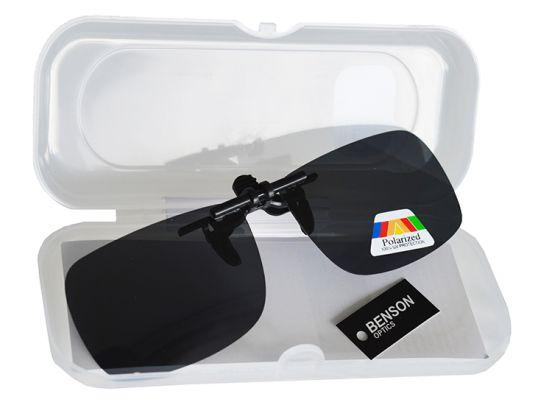 Clip-on zonnebril met polariserende glazen