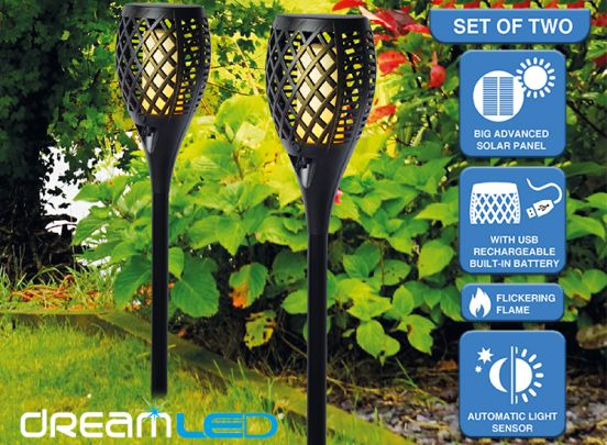 Dreamled Solar tuinlampen met flikkerend vlam-effect verlichting