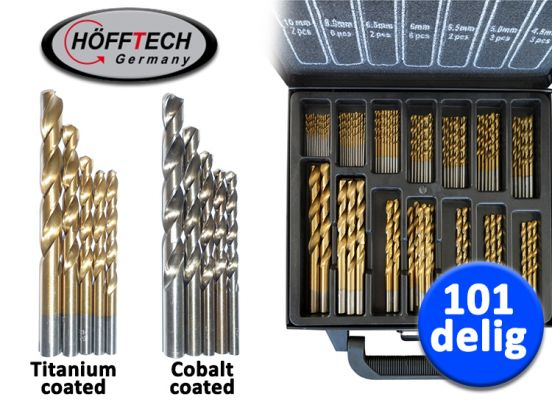 Hofftech 101-delige Borenset (Titanium of Cobalt coating)