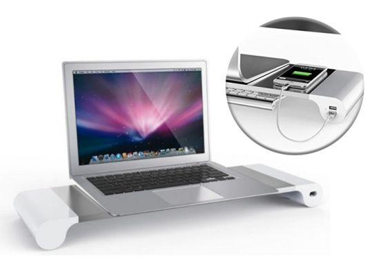 Space Bar monitor standaard - Verhoging voor je beeldscherm met 4 USB-aansluitingen