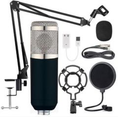 USB microfoon - Zwart - Inclusief statief, plofkap en popfilter