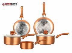 Herzberg HG-8044COP Koperen Metalen Pannenset - 7-Delig
