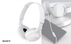 Sony Headphones with Built-in Mic ZX-series - white