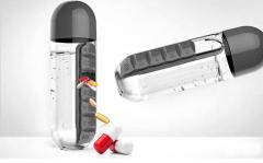 Drinkfles met pillenhouder - 600ML - zwart