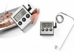 Digitale Keukenthermometer - Inclusief timer, Alarmfunctie en Batterij - RVS Sonde
