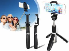 Foldable Mini Selfie Stick With Tripod - Black